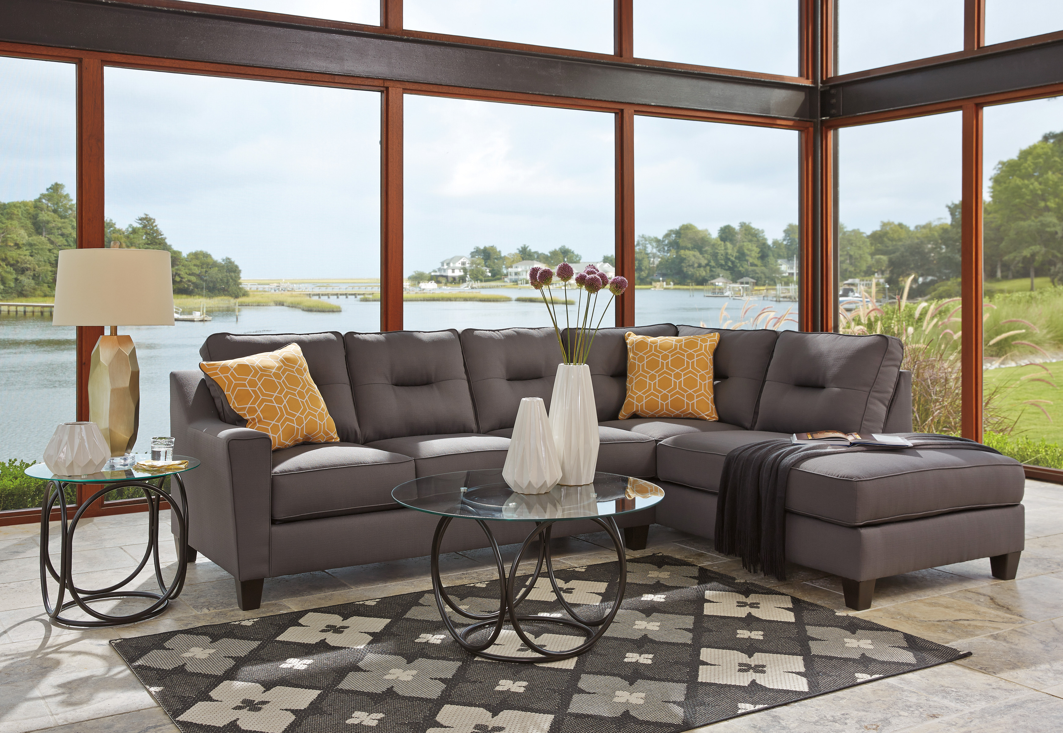 benchcraft kirwin nuvella chaise sectional harrington home furniture